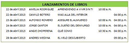 Feria Internacional Del Libro de Bogotá- tabla- Bubok