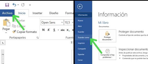 exportar tu archivo de Word a PDF