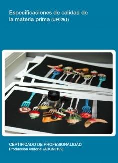 UF0251 - Especificaciones de calidad de la materia prima